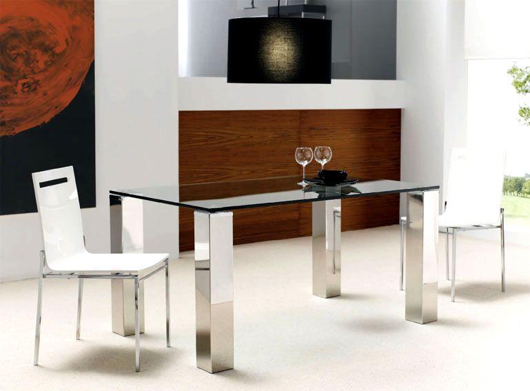 Mesa de Comedor Vision Material Cristal Material Acero inxidable y