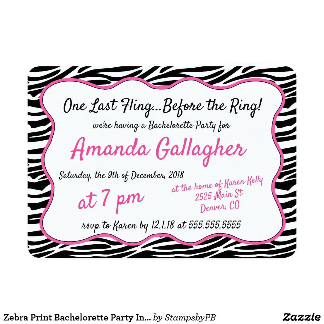 Zebra Print Bachelorette Party Invitation  Weddings Brides and