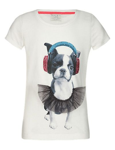 d634b95d2 Stud Embellished Dog Print T-Shirt (5-14 Years)
