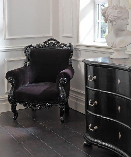 Baroque black velvet chair | BLACK | Pinterest | Gothic bedroom ...