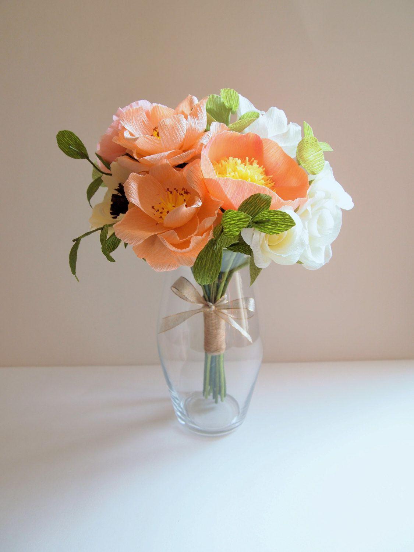 Crepe Paper Bridal Wedding Bouquet With Roses Ranunculus Peonies