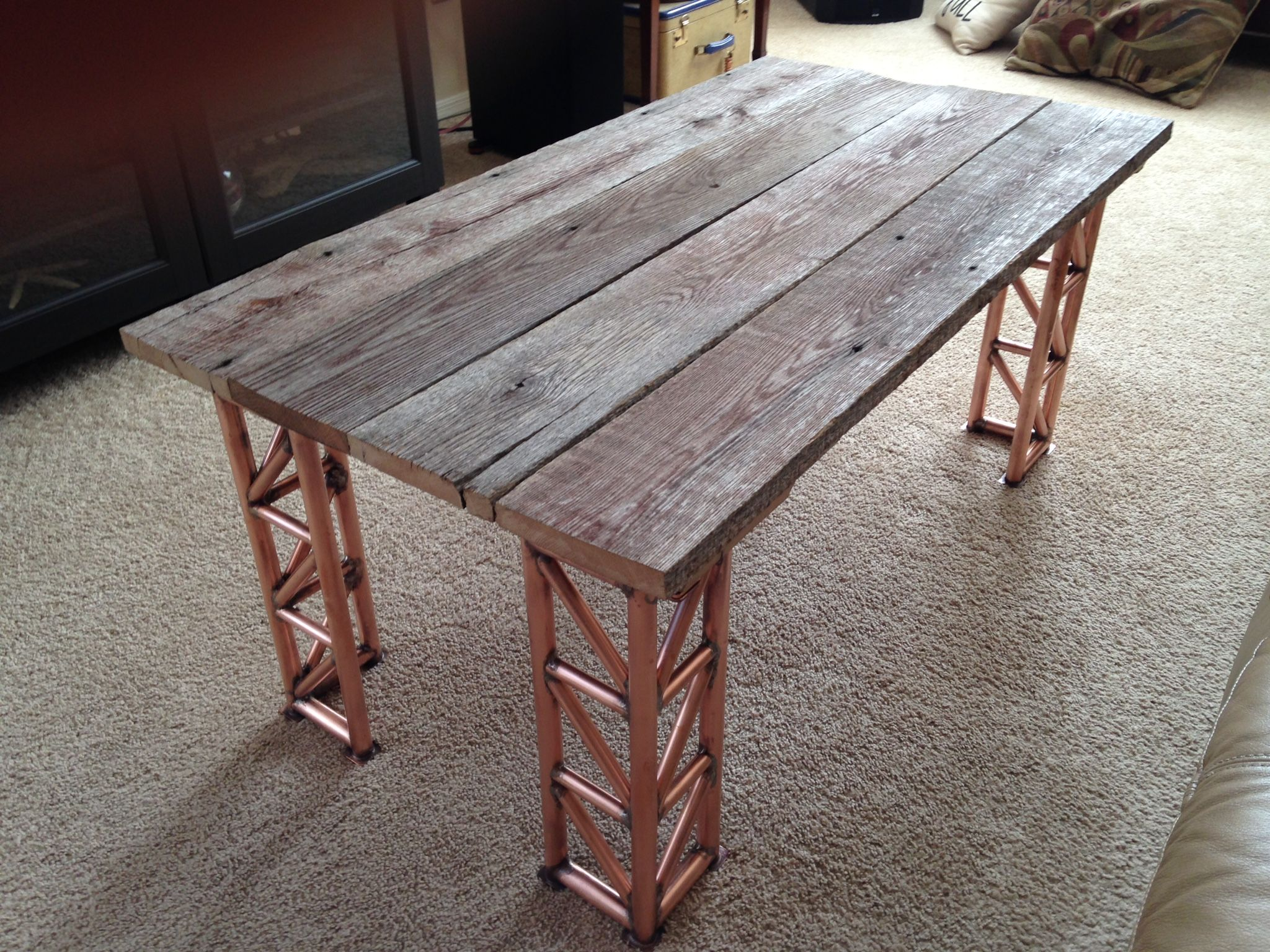 Coffee Table Using Re Claimed Oak Bark Siding For Top Legs