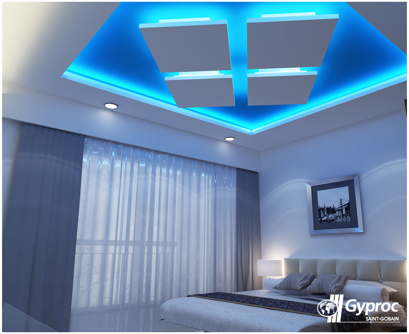 Brighten your bedroom with a ceiling like this one to for Bedroom gypsum ceiling designs photos