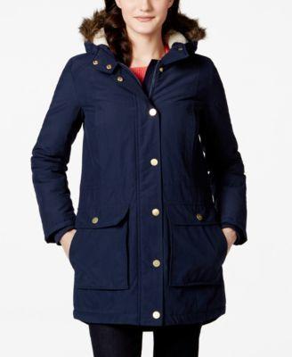 Tommy Hilfiger Faux-Fur-Trim Hooded Coat