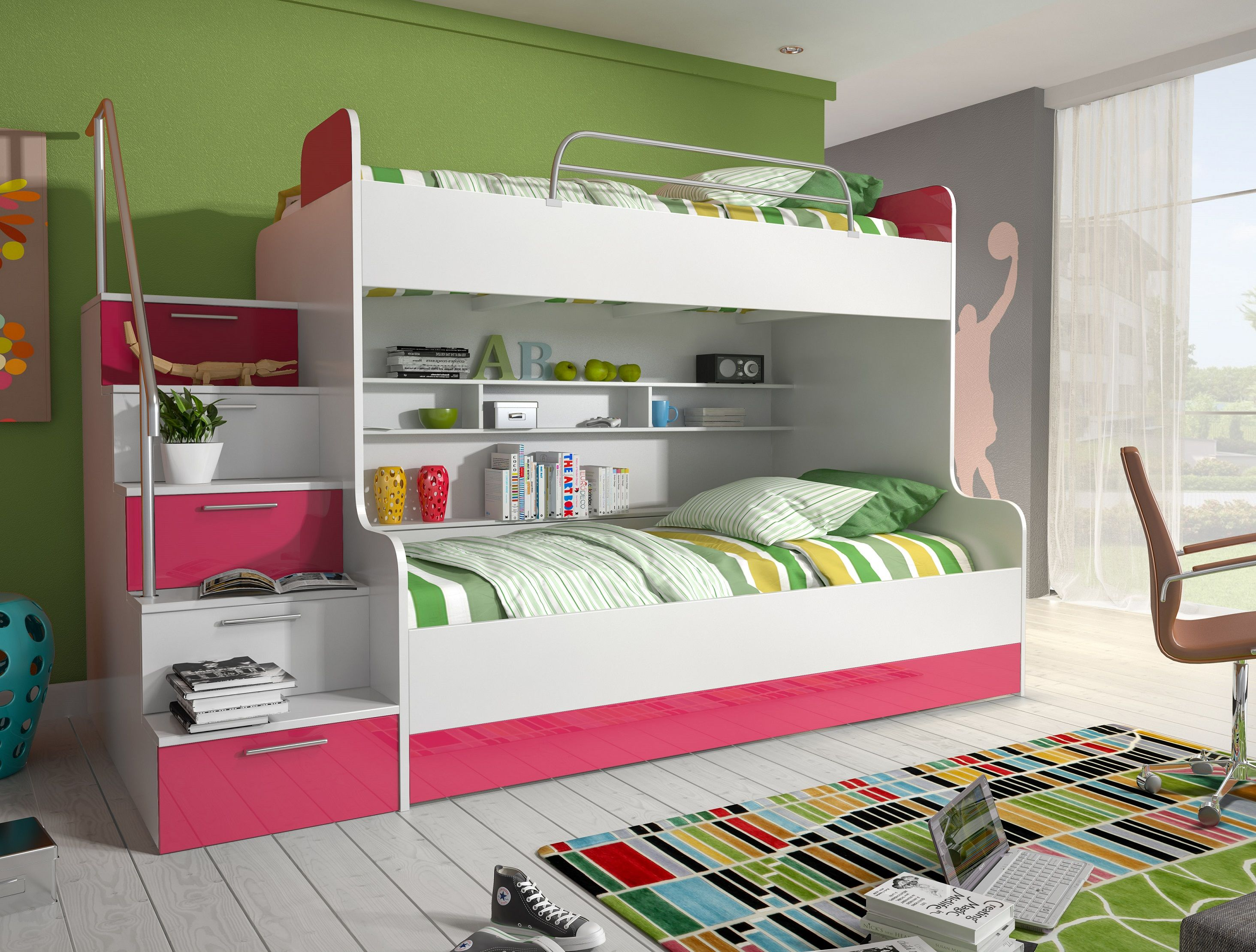 etagenbett kinderbett rose hochglanz rosa wei mit. Black Bedroom Furniture Sets. Home Design Ideas
