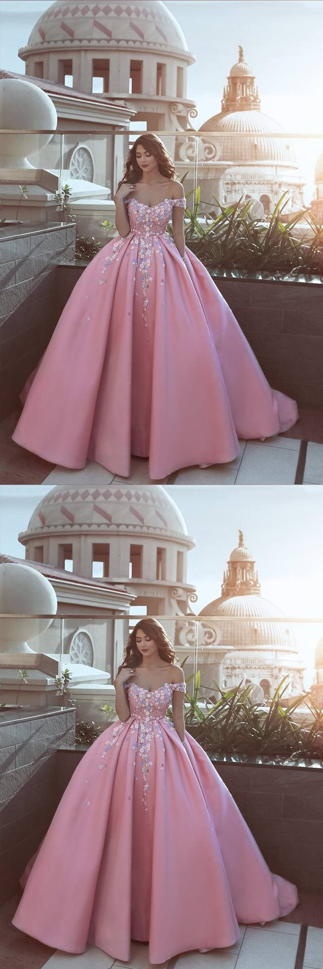 New arrival prom dress floral pink luxury puffy offthe