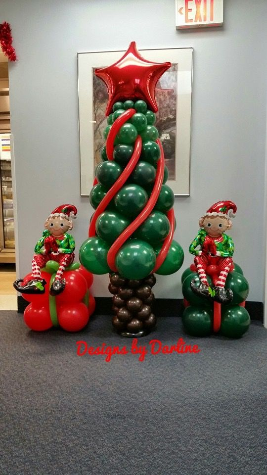 How To Make A Christmas Tree You Will Need 30 5 Brown 5 16 Green If You Christmas Balloon Decorations Christmas Balloons Balloon Decorations Party