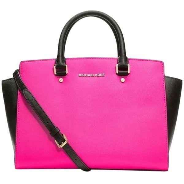 0217828c876b Pre-owned Michael Michael Kors Selma Large Top Zip Pink black Satchel ( 298)  ❤ liked on Polyvore featuring bags