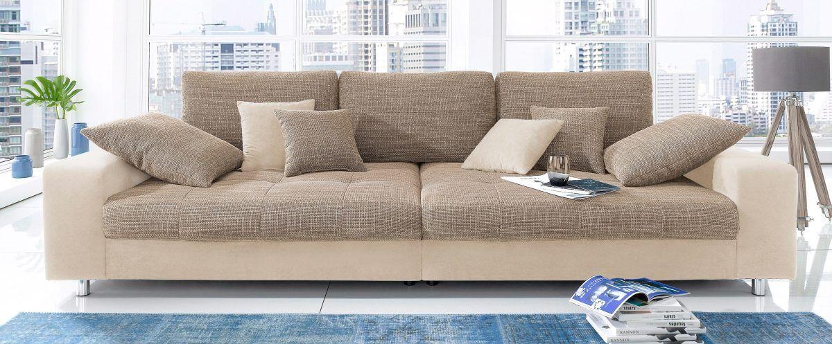 Big-Sofa beige, Ohne RGB-LED-Beleuchtung, inklusive loser Zier- und