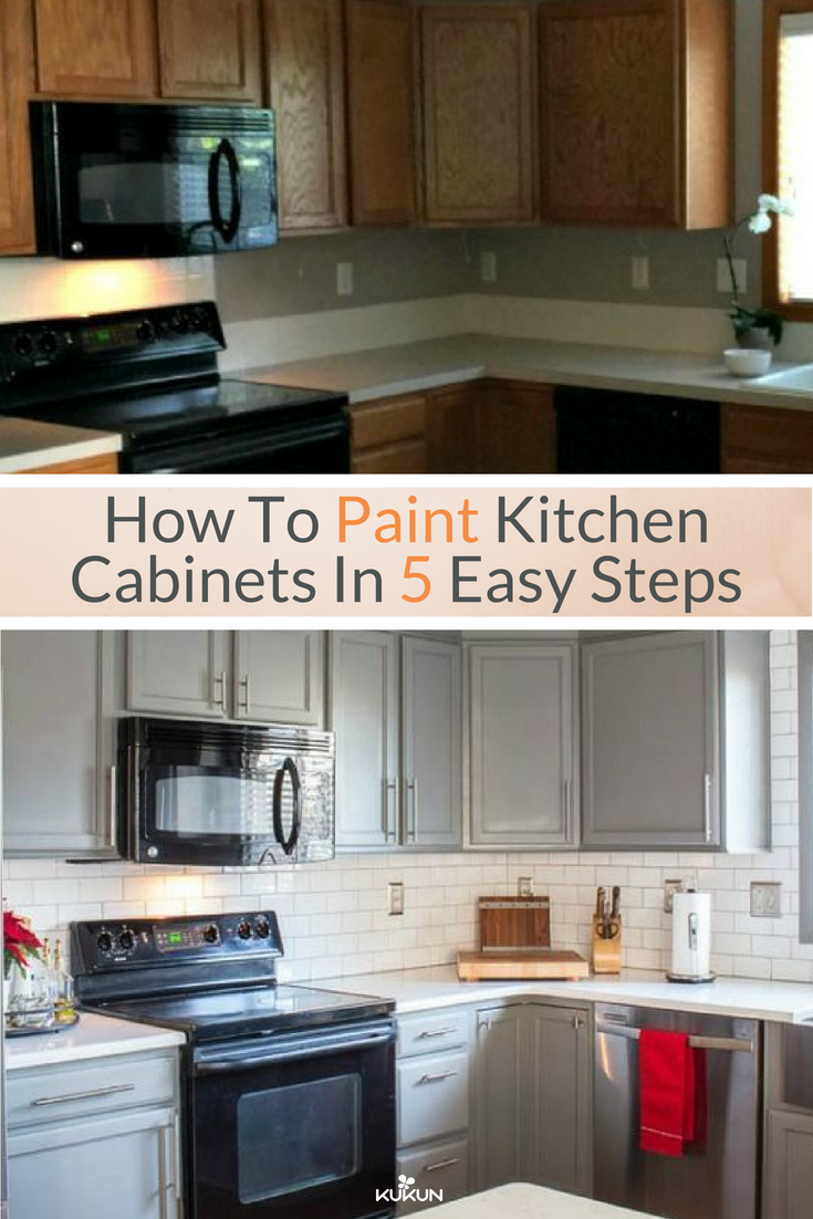 How To Paint Kitchen Cabinets In Five Easy Steps Painting Kitchen Cabinets Diy Kitchen Cabinets Painting Kitchen Cabinets Painted Before And After
