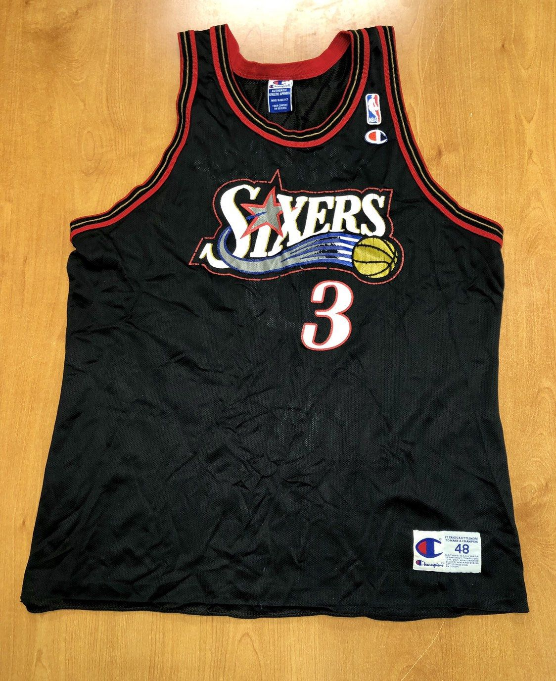 129898a8ac1 Vintage 1997 - 1998 Allen Iverson Philadelphia 76ers Champion Jersey Size  48 charles barkley dikembe mutombo hat shirt nba finals georgetown by ...