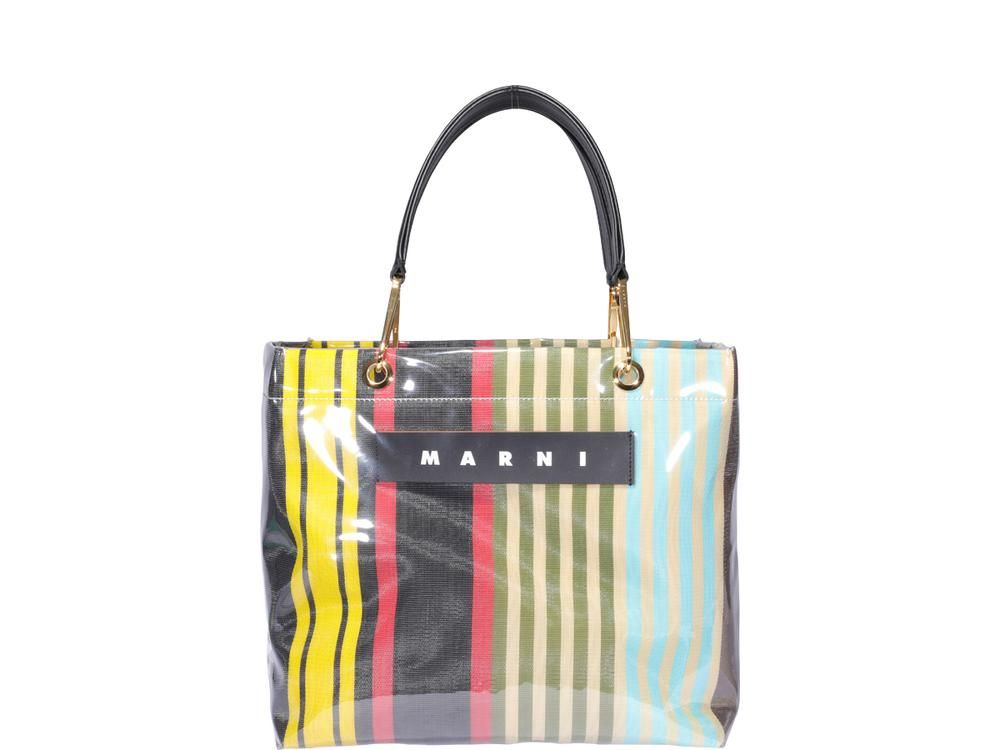 MARNI MARNI LOGO STRIPED RAINBOW TOTE BAG bags