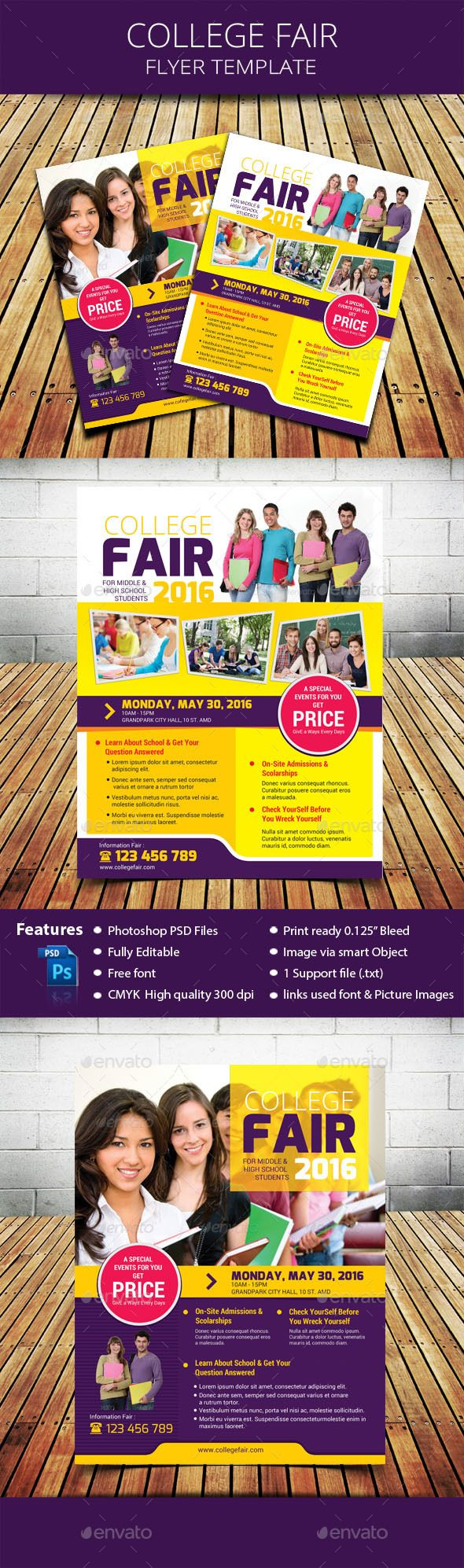 college fair flyer photoshop psd campus student available here