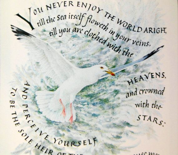 Vintage Card With Sea Gull And Inspirational Quote By