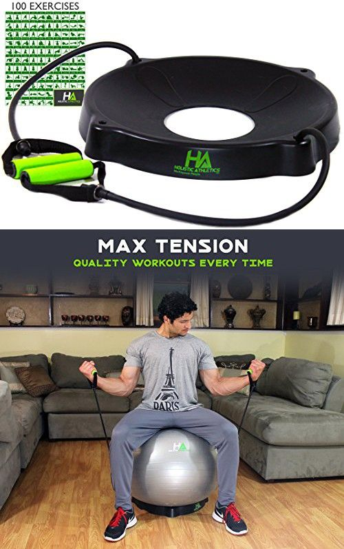 Trainer's CHOICE Yoga Fitness Exercise Ball Base - 2 HQ Comfort Grip  Resistance Bands - FITS 55-85cm - FREE 100+ DIGITAL DOWNLOAD EXERCISE  STARTER GUID 1f66bc35444c