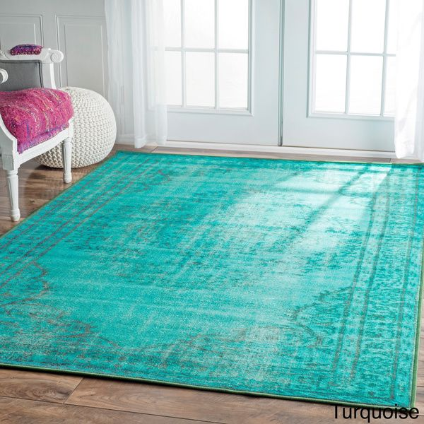 Nuloom Vintage Inspired Turquoise Overdyed Rug: NuLOOM Vintage Inspired Turquoise Overdyed Rug