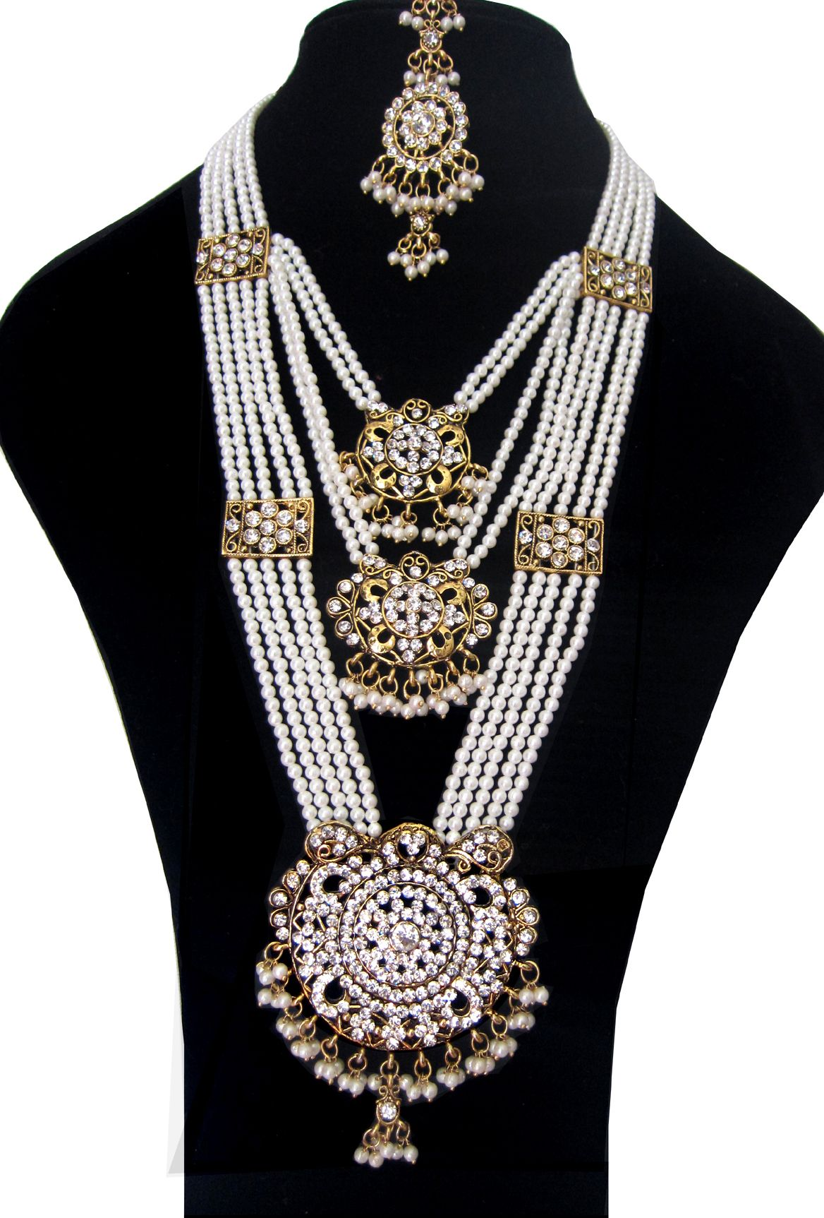 Triple layer stunning design pearl and antique gold bridal set ...