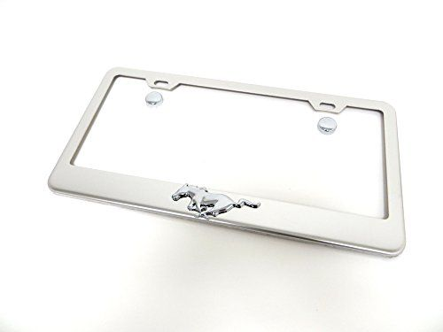 3d pony running horse stainless steel chrome license plate frame tag holder fit mustang for - Mustang License Plate Frames