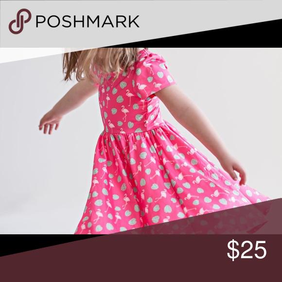 Girls Summer Casual Dresses Short Sleeve Flamingo Dress
