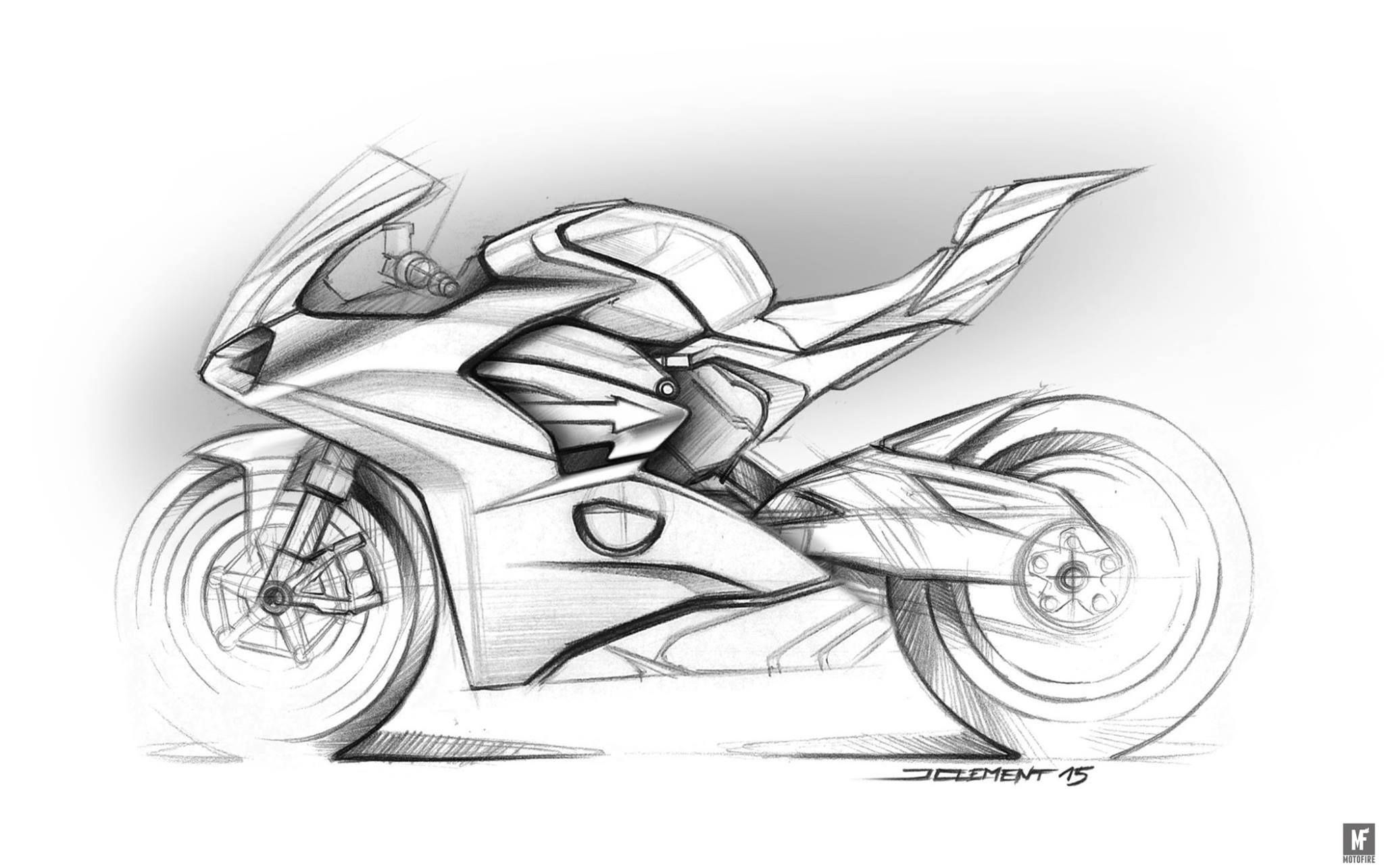 Ducati Panigale V4 Clement Bike Drawing Bike Sketch Motorbike
