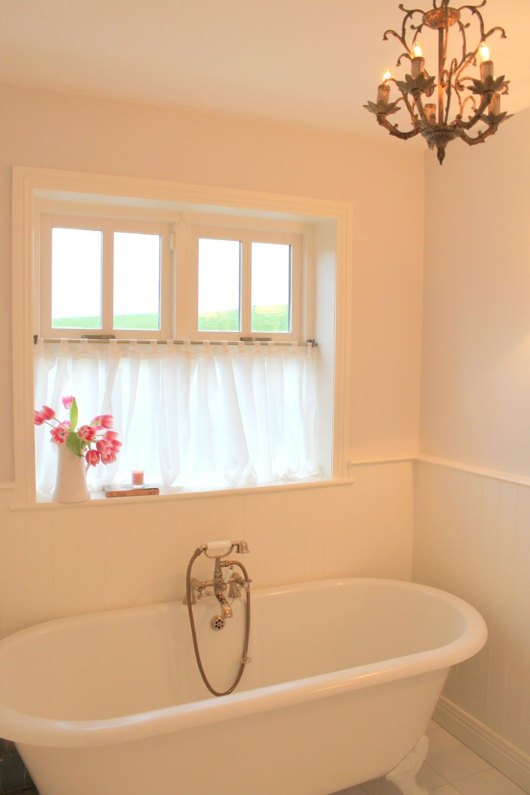 Before And After La Vie En Rose Bathroom Pinterest - Cafe curtains for bathroom for bathroom decor ideas