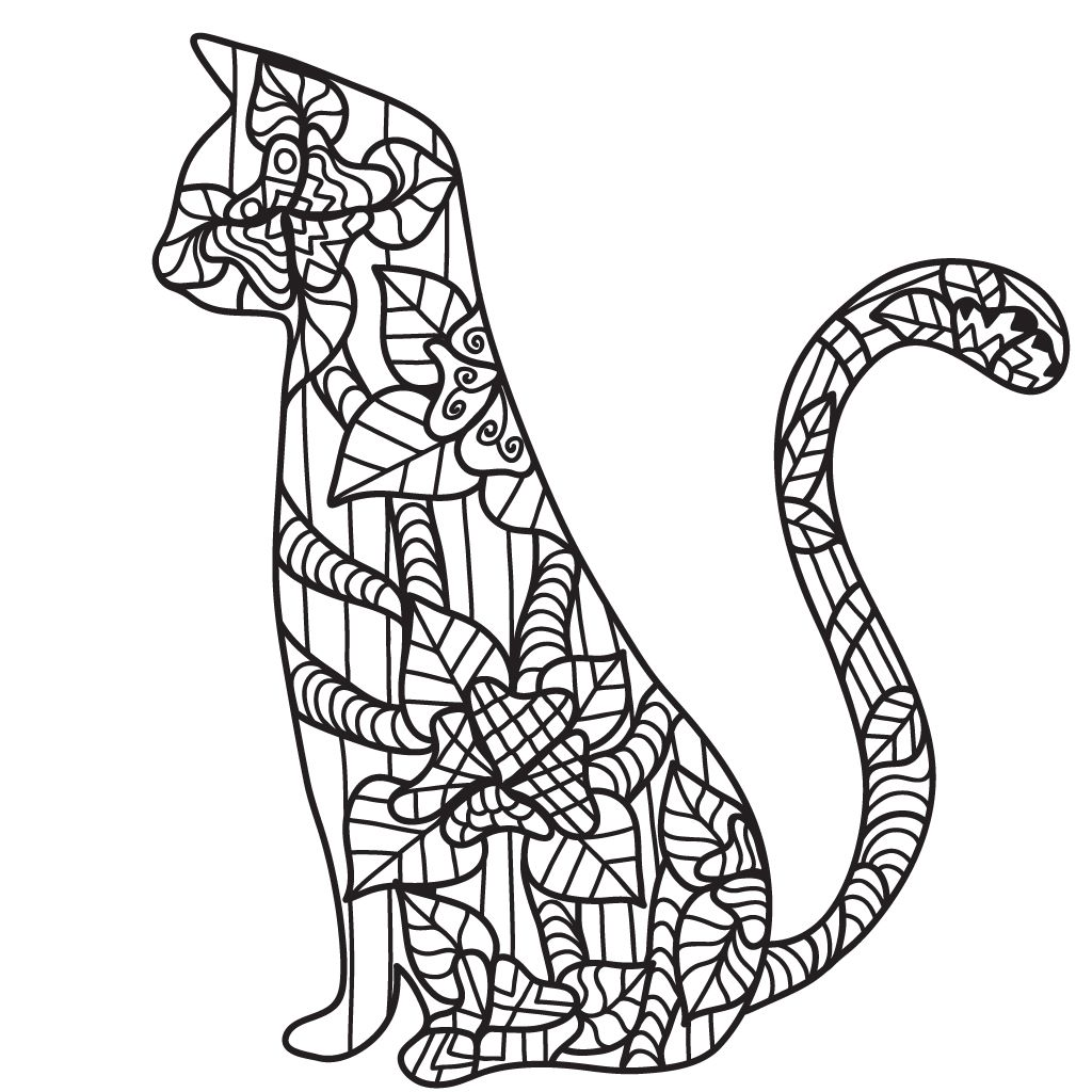 Cat Coloring Pages For Adults Cat Coloring Page Cat Coloring Book Coloring Pages [ 1024 x 1024 Pixel ]