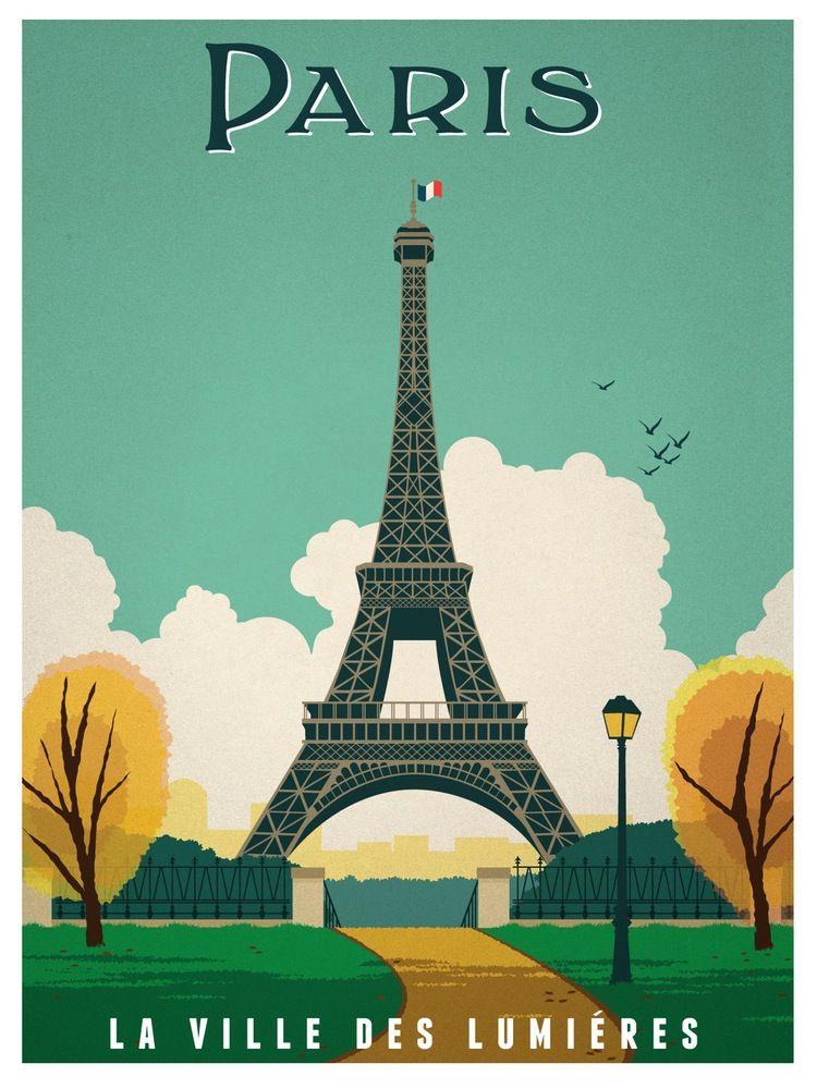 Vintage Paris Print Retro Travel Poster Travel Posters Vintage Travel Posters