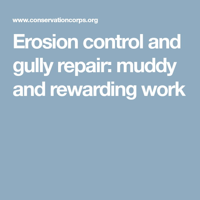 Erosion Control And Gully Repair: Muddy And Rewarding Work