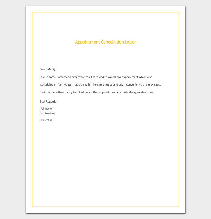 Free Printable Appointment Cancellation Format Doc  Letter