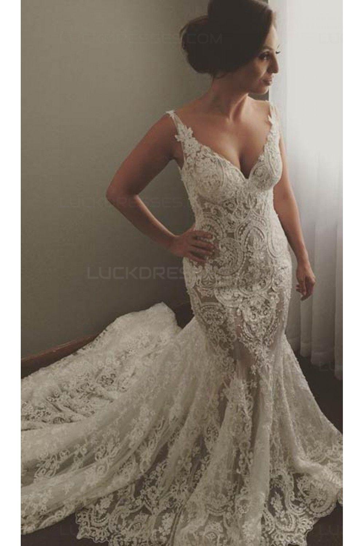 Mermaid lace wedding dress  Sexy VNeck Mermaid Lace Wedding Dresses Bridal Gowns