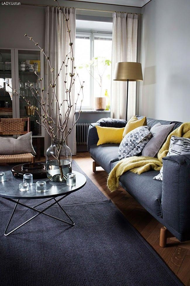 Best Charcoal Grey And Sunshine Yellow Living Room Decor 640 x 480
