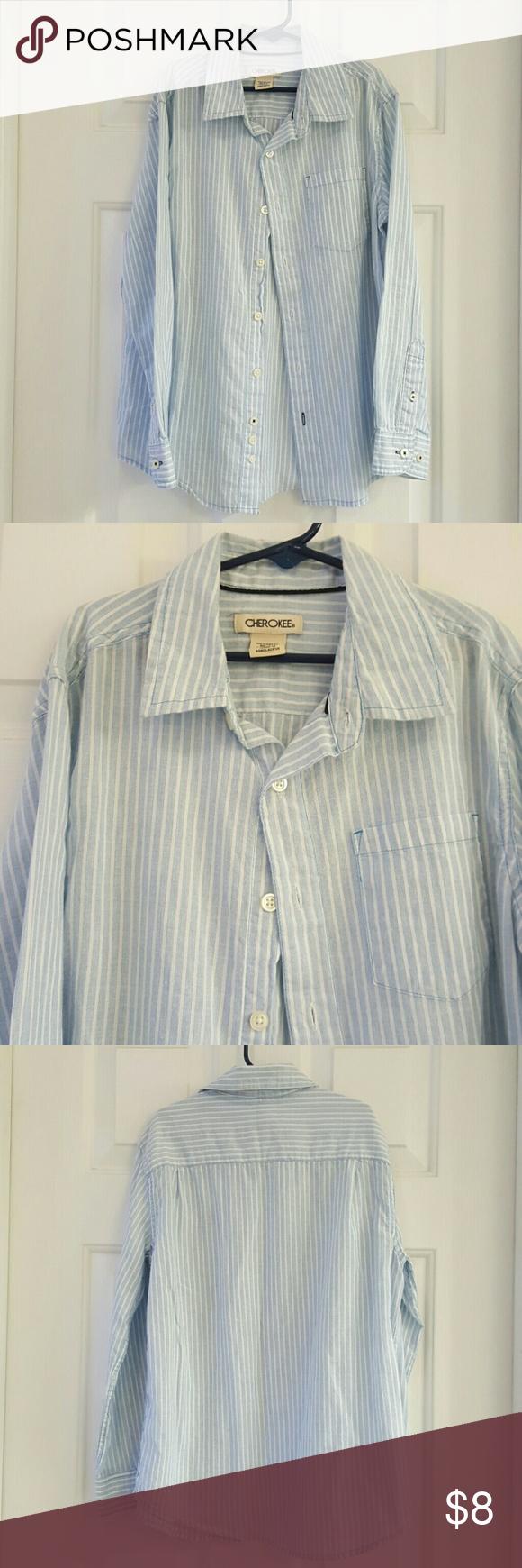 Cherokee Boys Striped Button Up Shirt Cherokee Boys Striped Button Up Shirt. One front pocket. Excellent condition. 100% Cotton. Boys Medium size 8-10. Cherokee Shirts & Tops Button Down Shirts