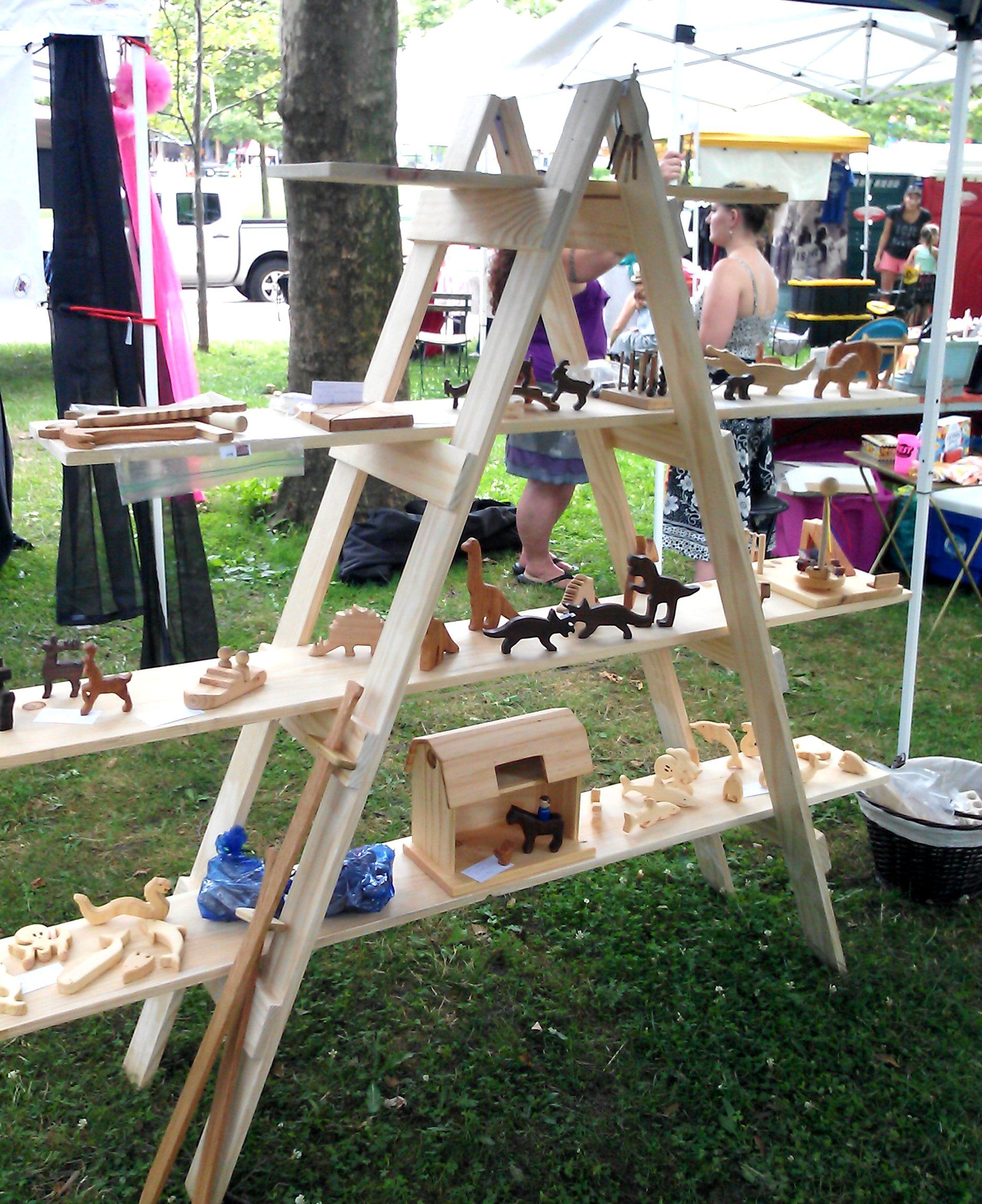Make your own ladder shelf for your craft show display for Made in the south craft shows
