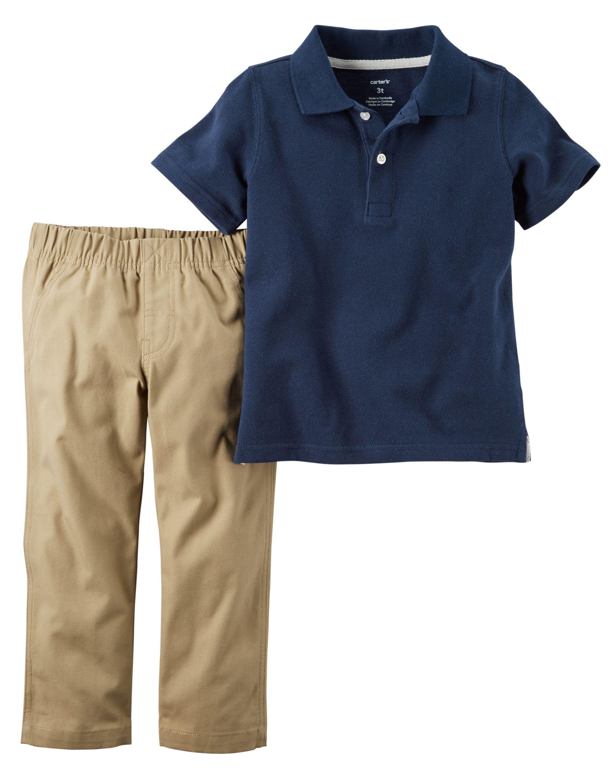 9628f3c968caf Toddler Boy 2-Piece Polo & Pant Uniform Set | Carters.com | BRYANT ...