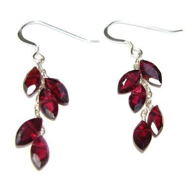 Sterling Silver Garnet Leaf Earrings From Elena Adams Designs