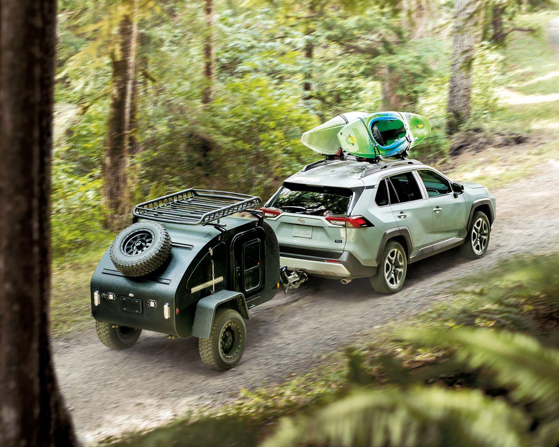 Rav4 Trail Shown In Lunar Rock With White Roof Rav4 Offroad Rav4 Hybrid Adventure Car