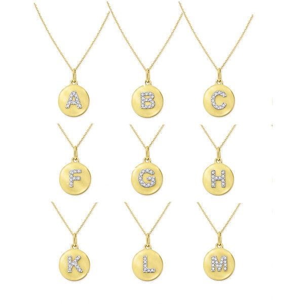 Kc designs 14k yellow gold diamond disc initial necklace 333 kc designs 14k yellow gold diamond disc initial necklace 333 liked on polyvore aloadofball Image collections