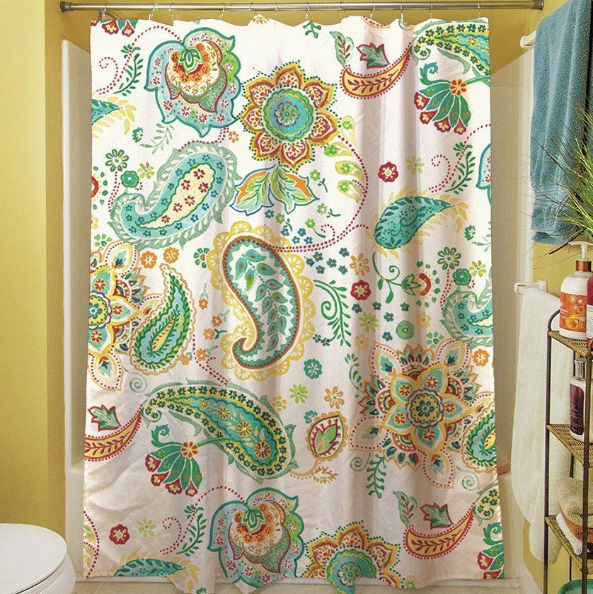 Aqua bloom paisley single shower curtain paisley shower
