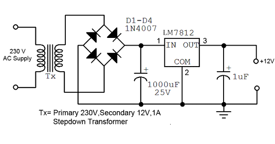 Here This Circuit Diagram Is For 12v Regulated Fixed Voltage Dc Power Supply These Power Supply Circuit Power Supply Circuit Circuit Diagram Power Supply