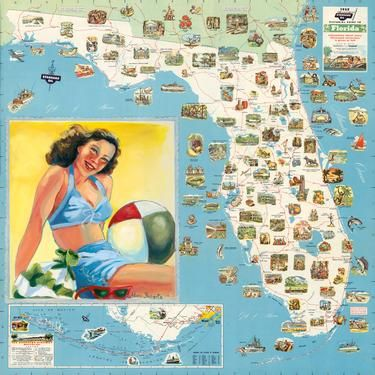 Road Map Florida.Vintage Florida Road Map Paper Florida Vintage Florida Florida