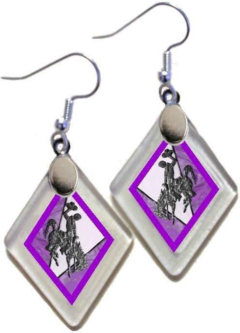 "Earrings ""Wyoming Bucking Horse & Rider(TM) in Purple"" from rescued, repurposed window glass~Licensed Product by OnceAWindow on Etsy"
