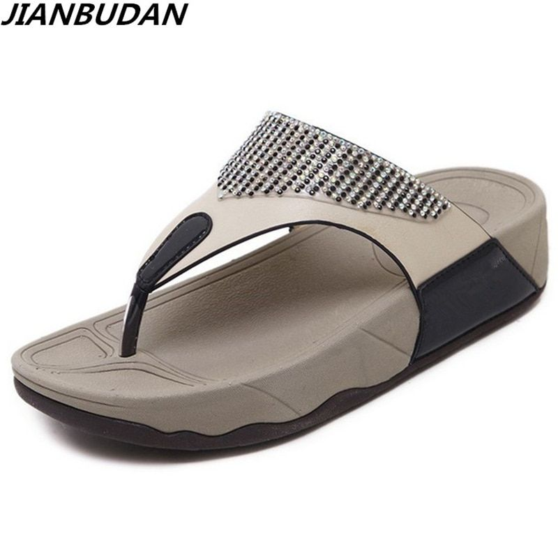 4aed5d30a843c JIANBUDAN Women s flat bottom wedge summer beach shoes non-slip comfortable flip  flop diamond trim flat slippers Size 35-41 Price   27.35   FREE Shipping ...