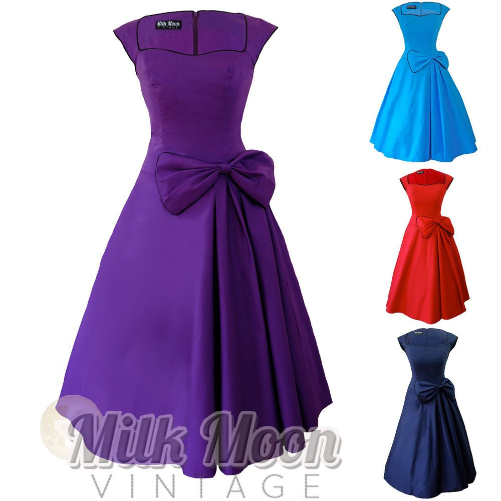 New Vintage 1950s 60s Rockabilly Blue Purple Black Bow Swing Party ...