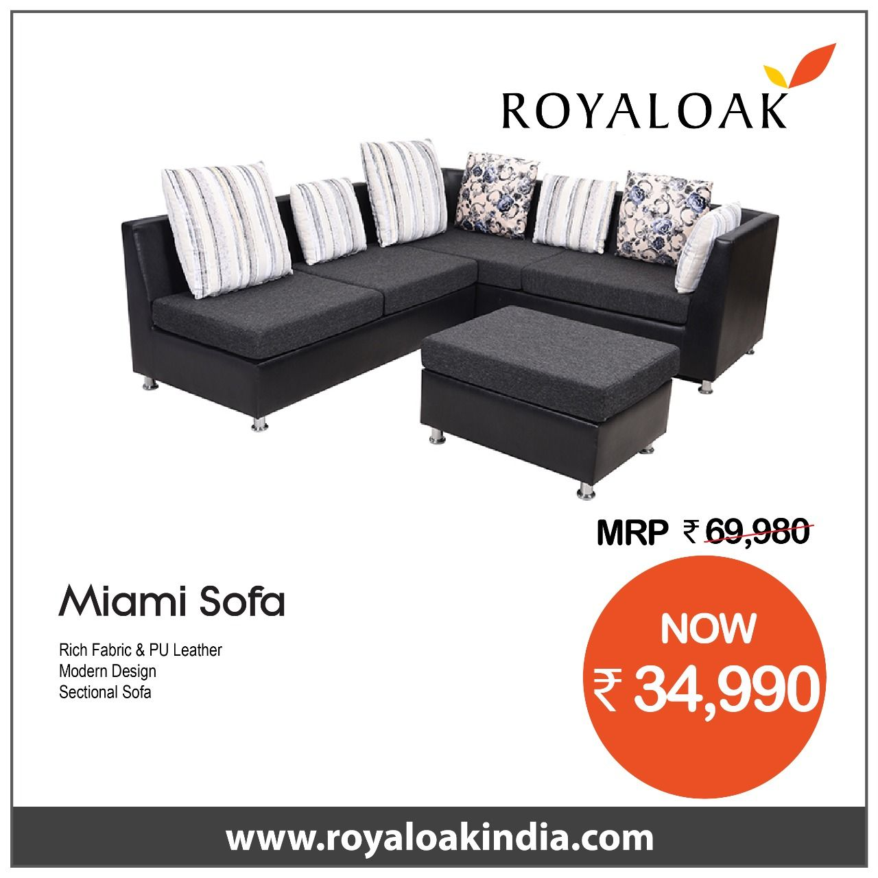 Buy Royaloak Miami Corner Sofa With Fabric And Pu Leather By Royaloak At The Lowest Price In India Buy Corner Sofas Sofas Living From Royaloak At The Lowes Buy
