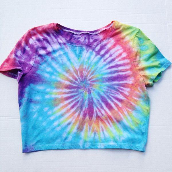41ee9f0c20112 Tie Dyed Crop Top Shirt Rainbow Tye Dye Tumblr Rave Crop Top Size S ...
