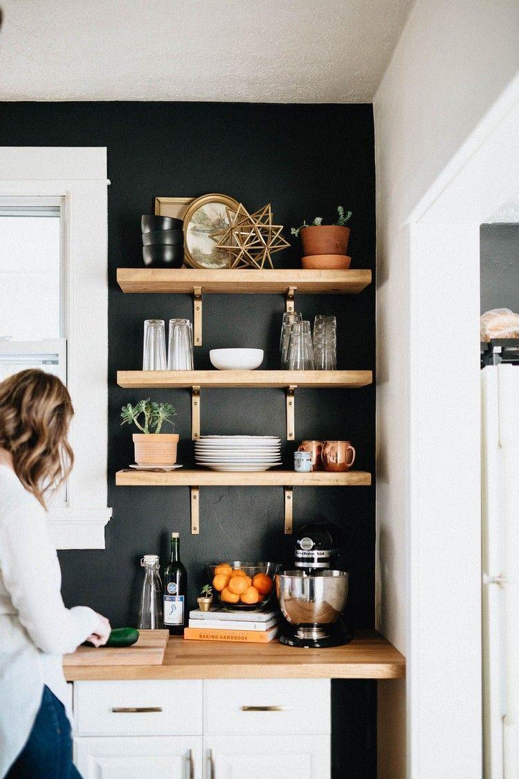 Kuche Wand Schwarz Streichen Kupfer Holz Akzente Wandregale Ikea