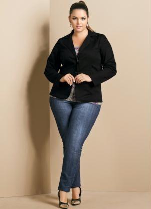Blazer Feminino Plus Size (Preto)  4b597d9e461f4