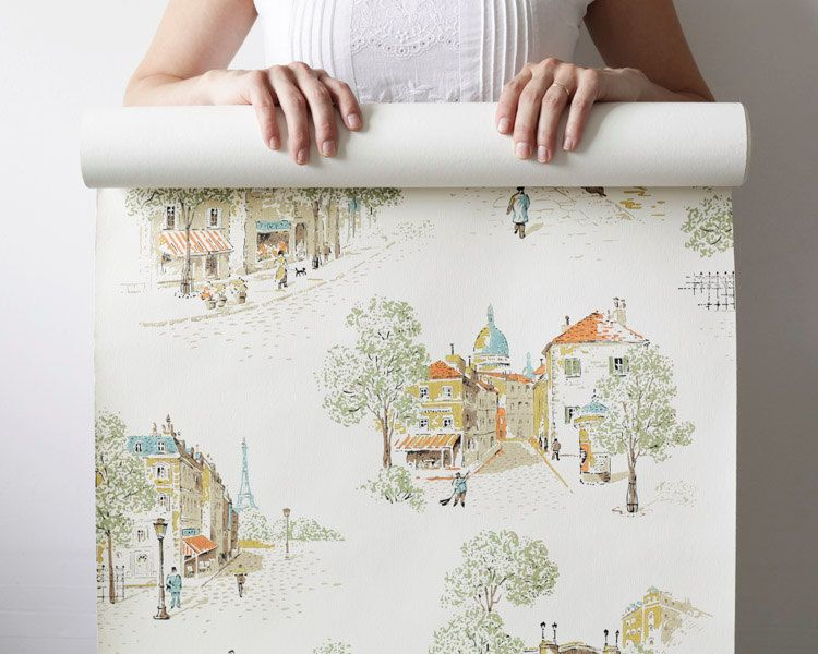 Vintage Wallpaper Roll - The Streets of Paris
