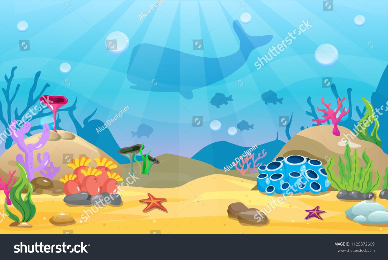 Cartoon Seamless Underwater Background Ocean Bottom Nature Vector Illustration Image Vector Underwater Background Vector Illustration Illustration