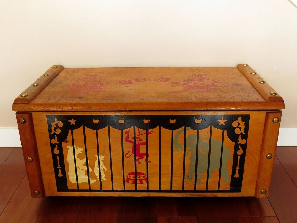 Vintage Wooden Circus Toy Chest Box Storage Treasure Clowns Animals Knotty Pine Circus Toy Toy Chest Storage Boxes